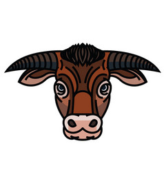head of powerful horned bull vector image