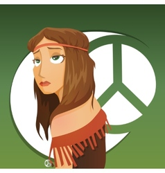 Beautiful girl of hippie vector