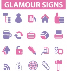 Glamour pink signs vector