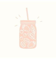 Pink smoothie jar silhouette with fruits and vector