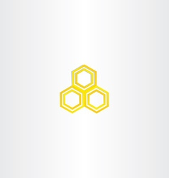 Yellow logo honey comb icon vector
