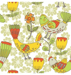 birds and floral pattern vector image