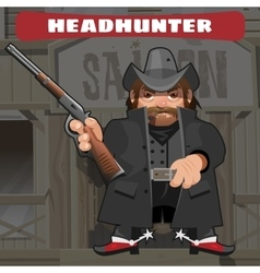 Cartoon character in wild west - leader with rifle vector