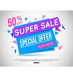 Super sale paper banner vector
