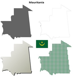 Mauritania outline map set vector