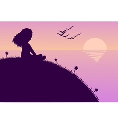 Girl glazing sunset vector
