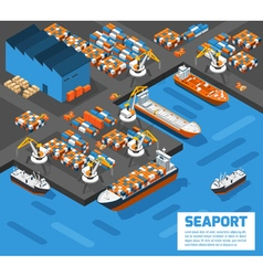 Seaport isometric aerial view poster vector