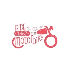 Ride Motorbike Red Vintage Emblem vector image