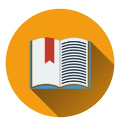 Flat design icon of open book with bookmark in ui vector