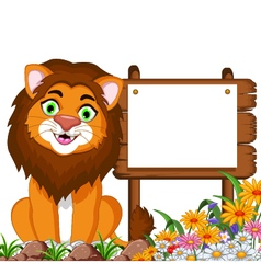 Lion cartoon posing with blank sign vector