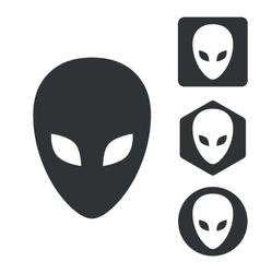 Alien icon set monochrome vector