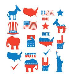 American elections icon set republican elephant vector