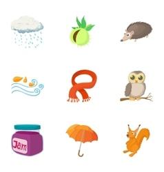 Autumn weather icons set cartoon style vector
