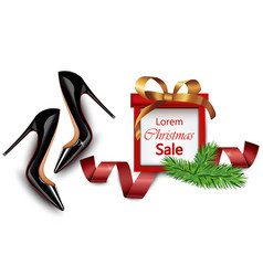 Black stiletto shoes sales realistic vector