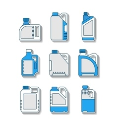 Blank plastic canisters flat icons packaging for vector