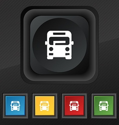 Bus icon symbol set of five colorful stylish vector