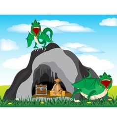 Cave and dragons vector