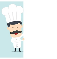 Chef hold blank board for use in advertising vector
