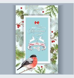 christmas bullfinch frame vector image vector image
