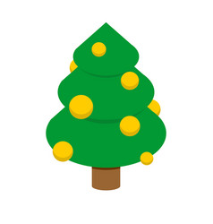 Christmas tree isometric style decorated fir vector