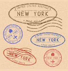 Collection of new york postal stamps partially vector