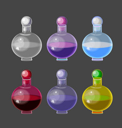 Colorful magic bottles with potions vector