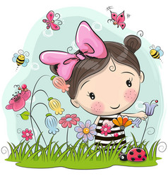 cute cartoon girl on a meadow vector image