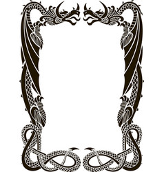 Dragons frame ornament isolated on white vector
