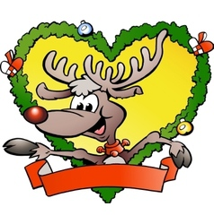 Hand-drawn of an happy christmas reindeer vector image vector image