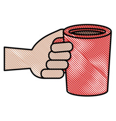 Hand with coffee cup drink icon vector