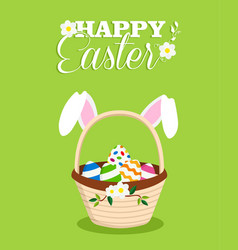 Happy easter rabbit in egg basket holiday card vector