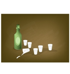 Korean traditional rice liquor on a chalkboard vector