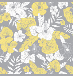 light yellow and grey drawing tropical vector image vector image