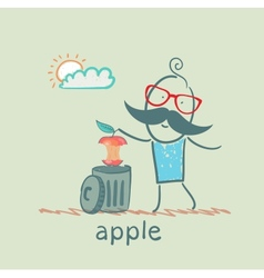 Man throws an apple to eat in the trash vector