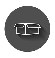 open box icon shipping pack flat with long shadow vector image