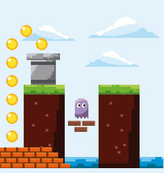Pixel game arcade scene ghost gold coins prize vector