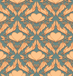 Retro Seamless Pattern with Decorative Hearts vector image vector image