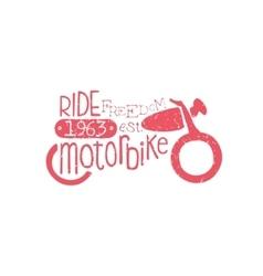Ride motorbike red vintage emblem vector