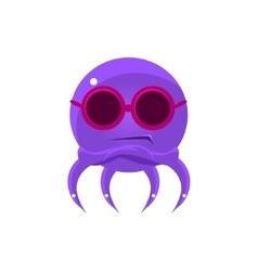 Sceptic funny octopus in shades emoji vector