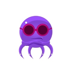 Sceptic Funny Octopus In Shades Emoji vector image