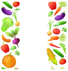 Seamless borders of vegetables vector