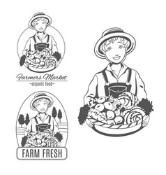 set of logo with farmer woman vector image