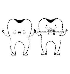 teeth cartoon holding hands and one with dental vector image