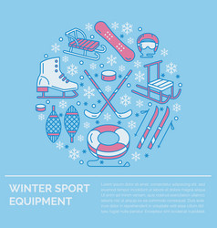winter sports banner equipment rent at ski resort vector image