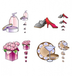 woman stuff icons vector image vector image