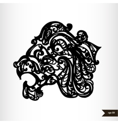 Zodiac signs black and white - leo vector