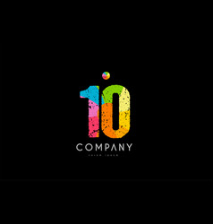 10 number grunge color rainbow numeral digit logo vector