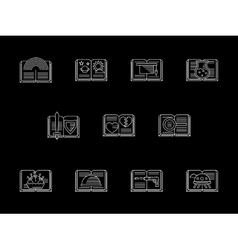 Book genres shop white line icons set vector image