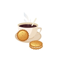 Coffee and cookies breakfast food element isolated vector