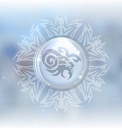 Snow globe with zodiac sign capricorn vector